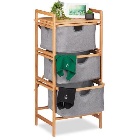 Estantería de bambú, 3 cestos extraíbles, Mueble de baño y dormitorio, 96 x 44 x 34,5 cm, Marrón/gris