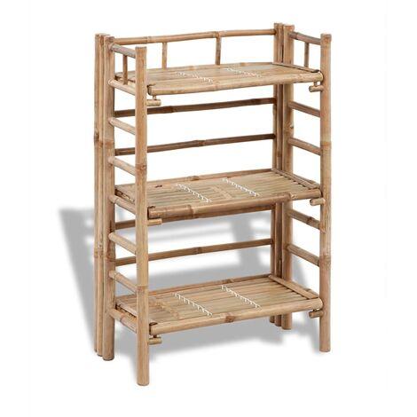 """main image of """"Estantería de bambú con 3 niveles para plantas - Marrón"""""""