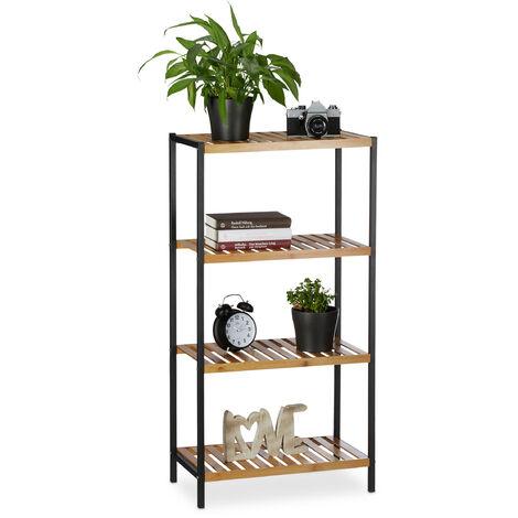 Estantería de bambú, Multi-usos, Organizador para el baño o cocina, Cuatro estantes, Marco de metal, Marrón, 97 x 50,5 x 27 cm