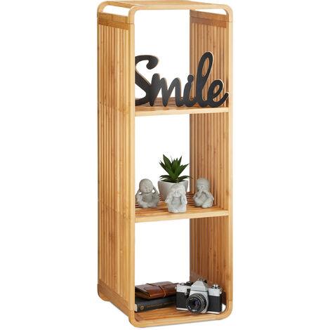 Estantería de bambú, Organizador redondeado, Mueble con cuatro estantes, Cuadrado, Marrón, 96x33x33 cm
