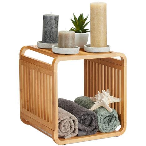 Estantería de bambú, Organizador redondeado, Mueble con dos estantes, Cuadrado, Marrón, 33x33x33 cm