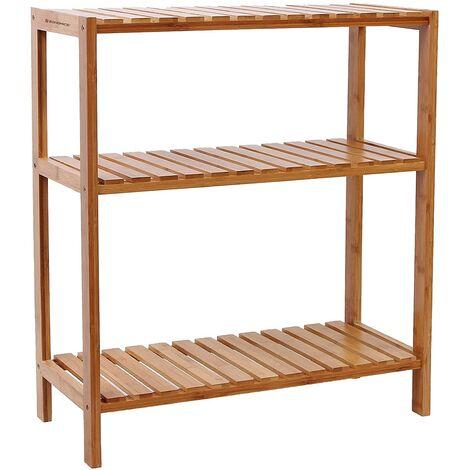 Estantería de bambú para baño Librería Organizador Zapatero 59 x 26 x 66cm BCB33Y