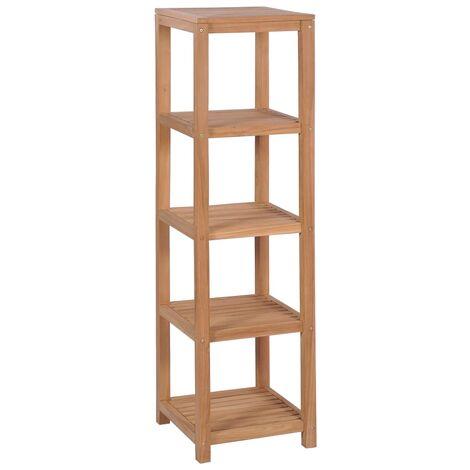 Estantería de baño 4 niveles madera teca maciza 42x42x165 cm