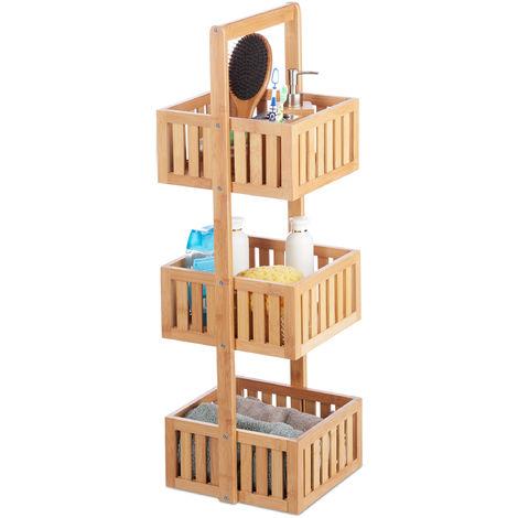 Estantería de baño, De pie, Tres estantes, Estrecho, Bambú, Marrón, 82,5x27x26,5 cm