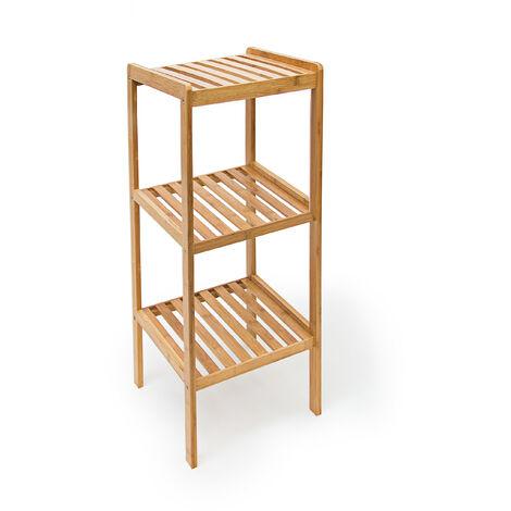- Estanteria de baño, hecha de bambú, 33 x 33 x 79 cm, 3 niveles, color marrón, estante
