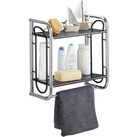 Estantería de baño, Toallero, Dos estantes, Cromado y negro, 45,5x46x22 cm