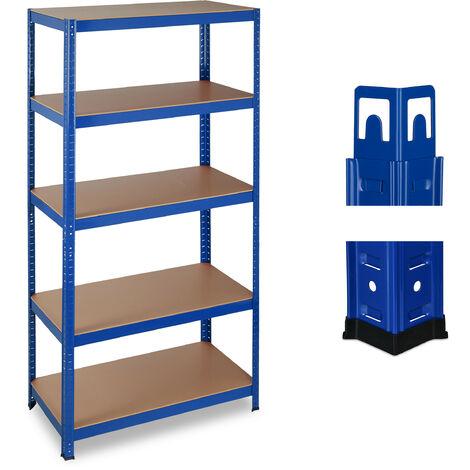Estantería de carga pesada, 875 kg, Cinco estantes, Sistema de ensamblaje, 180x90x45 cm, Acero & MDF, Azul