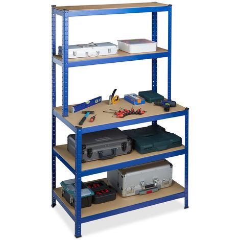 Estantería de carga pesada & Banco de trabajo, Cinco baldas, Ensamblaje, 180x100x60 cm, Metal, MDF, Azul