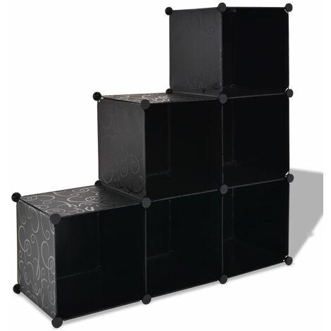 Estantería de cubos con 6 compartimentos negro