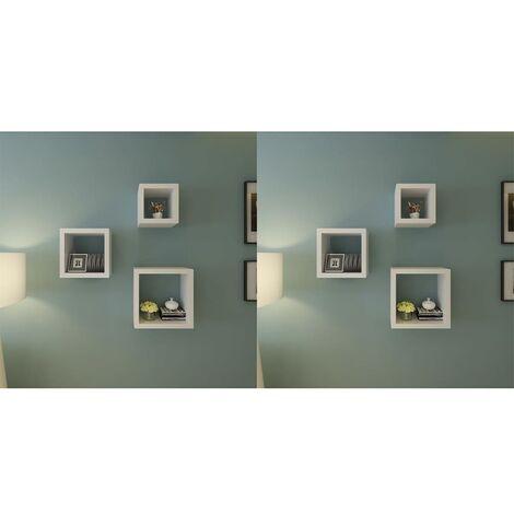 Estantería de cubos para pared 6 unidades blanco - Blanco