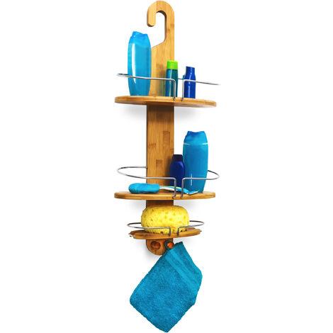 - Estantería de ducha (con 3 estantes, bambú, resistente a la humedad, 2 ganchos, metal cromado), color marrón
