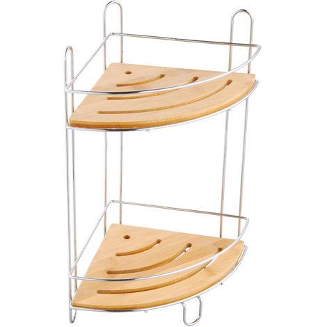 Estanteria de ducha MSV de angulo con 2 niveles de bambu y metal cromado con ventosas