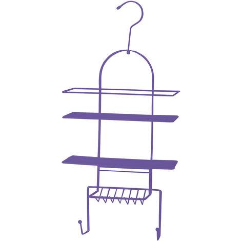 Estanteria de ducha MSV de metal con 3 alturas en color morado 53 x 25 x 10,6 cm