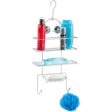 Estantería de ducha, Sin taladro, Baldas colgantes, Ganchos y ventosas, 55 x 25 x 11 cm, Plateado
