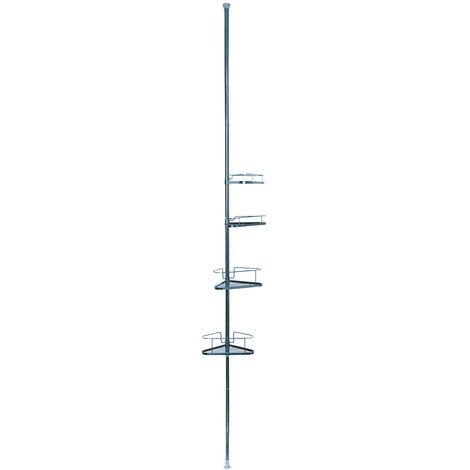 Estanteria de ducha telescopica MSV de metal con 4 estantes en color plateado 25,5 x 32,5 x 250 cm