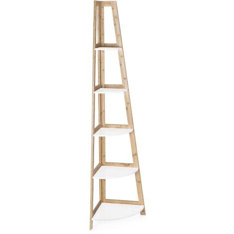 Estantería de esquina 180 cm con estructura de madera de bambú y 5 estantes color Blanco mate | Blanco