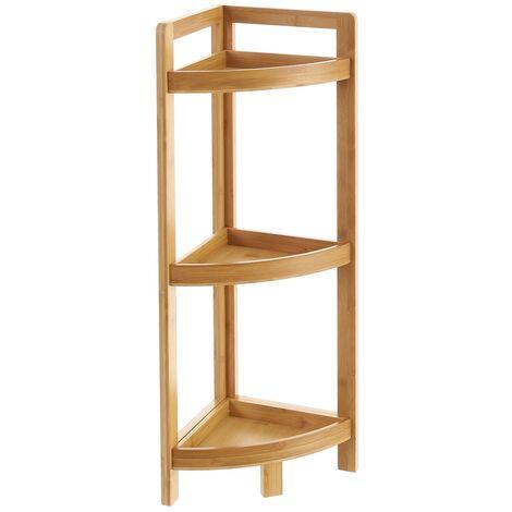 Estantería de esquina de 3 estantes de bambú natural de 23x23x77 cm