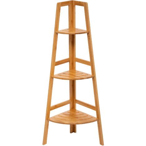 Estantería de esquina de bambú de 3 niveles Sicela