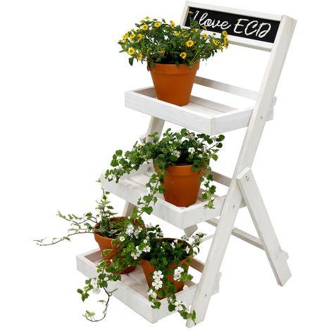 Estantería de flores con pizarra escalera madera blanca soporte plegable plantas