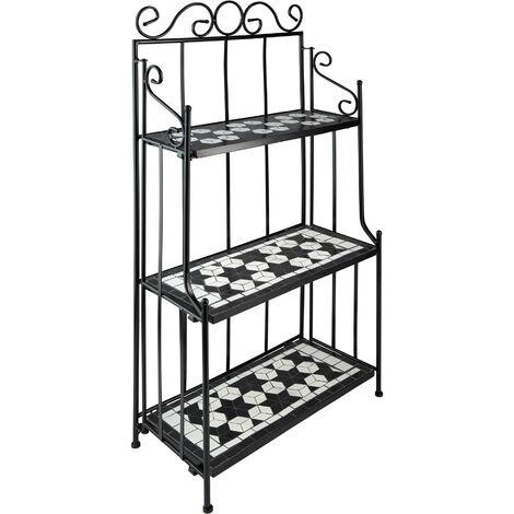 Estantería de forja y mosaico 3 estantes - soporte a tres alturas para macetas, estantería metálica en escalera para exterior, base para macetas en interior