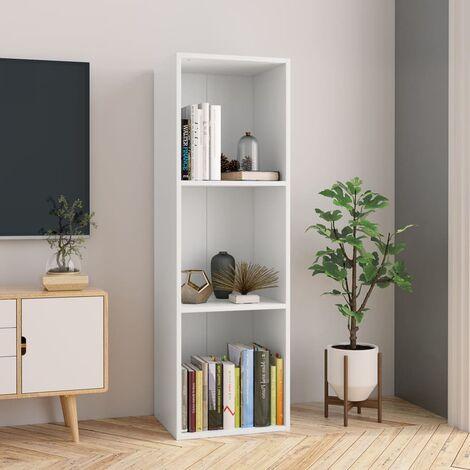 Estantería de libros/mueble TV aglomerado blanco 36x30x114 cm - Blanco