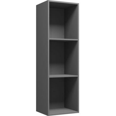 Estantería de libros/mueble TV aglomerado gris 36x30x114 cm