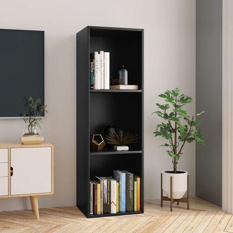 Estantería de libros/mueble TV aglomerado negro 36x30x114 cm - Negro