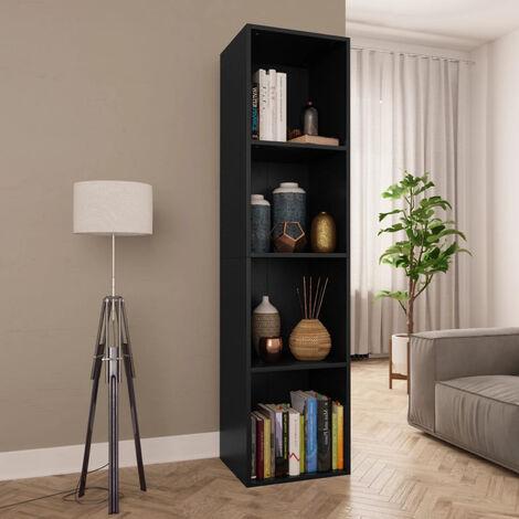 Estanteria de libros/mueble TV aglomerado negro 36x30x143 cm
