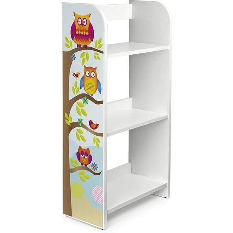 Estantería de madera para niños con tres estantes - Búhos