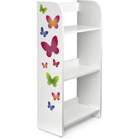 Estantería de madera para niños con tres estantes - Mariposas