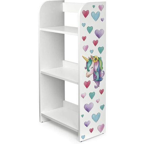 Estantería de madera para niños con tres estantes - Unicornio