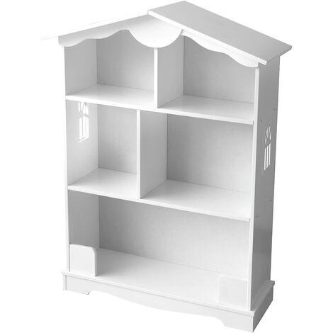 Estantería de madera para niños, una casa blanca