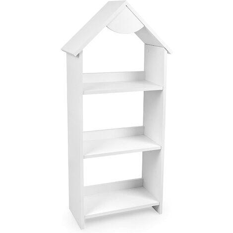 Estantería de madera para niños, una casa simple con el techito