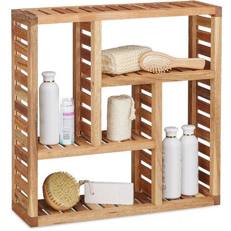 Estantería de pared, Cinco compartimentos, Mueble de baño, 50 x 50 x 15 cm, Ud., Marrón