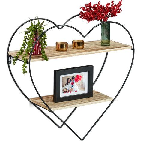 Estantería de pared con forma de corazón, Dos estantes Metal & Madera, 48 x 50,5 x 19 cm, 1 Ud., Marrón