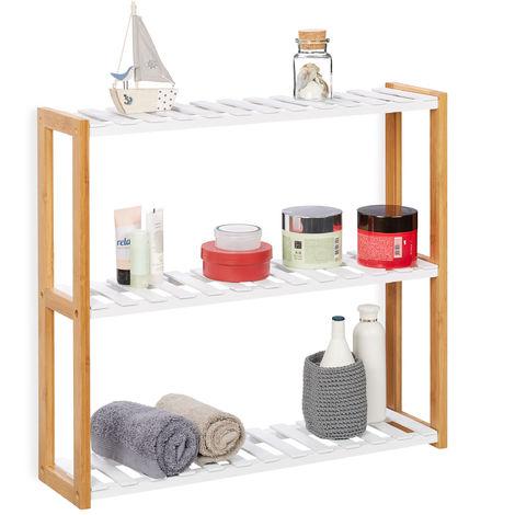 Estantería de pared con tres estantes, Mueble de almacenaje, Bambú, MDF, 54x60x15 cm, Blanco