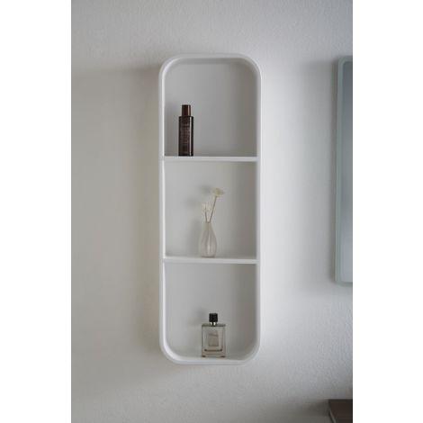 Estantería de pared de baño de polímero mineral PB4206 - 30 x 15 x 90 cm
