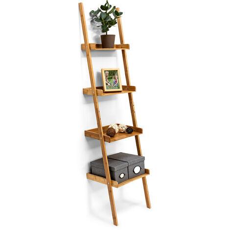 – Estanteria de pared en forma de escalera hecho de bambú con medidas 176 x 44 x 37 cm 4 niveles pisos decoración estantes de madera, color natural