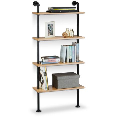 Estantería de pared, madera y hierro, cuatro estantes, medidas H x L x P: 142,5 x 60 x 24 cm madera / negro