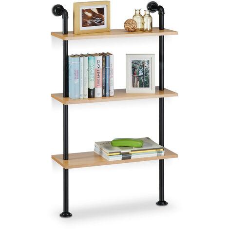 Estantería de pared, madera y hierro, tres estantes, medidas H x L x P: 112,5 x 60 x 24 cm madera / negro