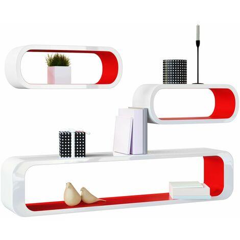 Estantería de pared Set en estilo retro–Estante Diseño Cube Estantería Estante 452097–Modelo Selección