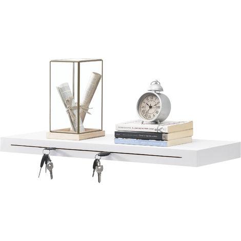 Estantería de pared y porta llaveros 80 x 23,5 x 5 cm de Diseño - Con ganchos para colgar - Blanco