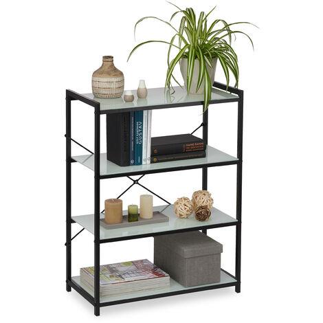 Estantería de pie, Baldas de cristal, Estructura metálica, Decorativo, 79x60x30 cm, Negro