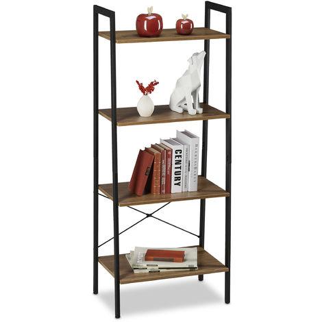 Estantería de pie con cuatro estantes, Librería, Industrial, Abierta, Decorativa, 136,5x56x34cm, 1 Ud., Marrón