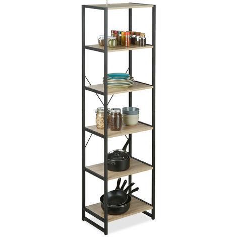Estantería de pie, Diseño industrial, Librería con seis estantes, 180x50x35 cm, PB/metal, Marrón