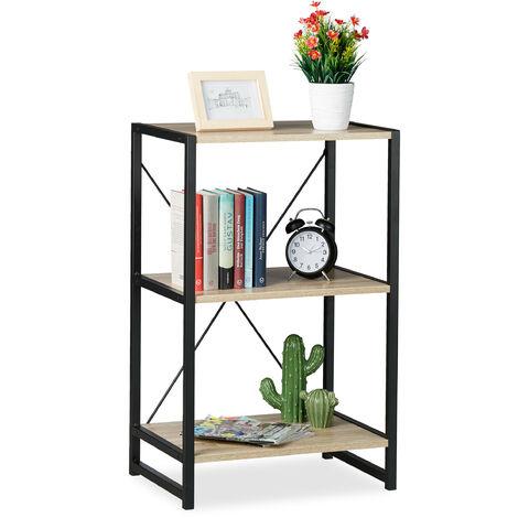Estantería de pie, Industrial, Librería baja con tres estantes, 80x50x35 cm, PB/Metal, Marrón