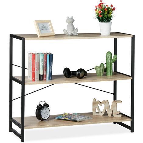 Estantería de pie, Librería industrial, Tres estantes, Transversal, 80x95x5 cm, PB/Metal, Marrón y negro