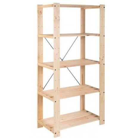 Estantería de pino macizo 5 baldas regulables en altura