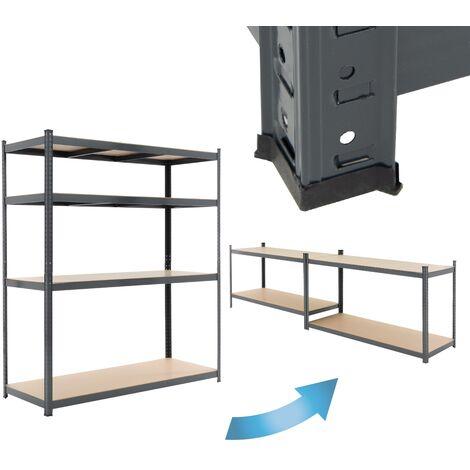 "main image of ""Estantería de taller 4 baldas estante antracita almacenaje garaje 180x160x60 cm"""