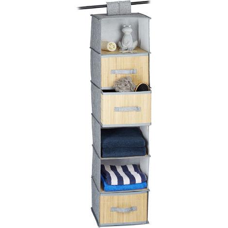 Estantería de tela, Tres cestas de almacenaje, Seis estantes, Colgante, Bambú, 120x30x30 cm, Gris y marrón